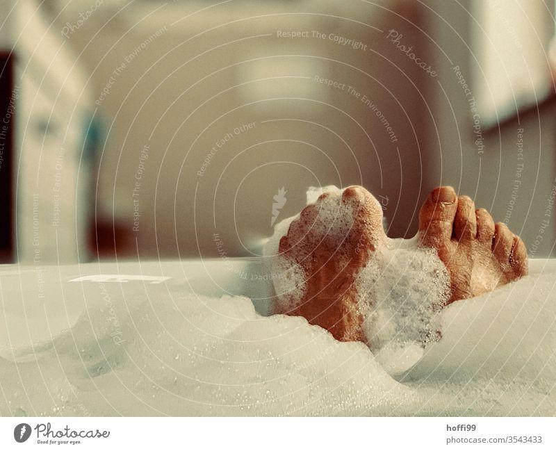 Bathtub with feet - Relax bathe Bathroom Personal hygiene Clean Wellness Water Relaxation Foam already Wash Human being Legs Skin Wet Toes Foam bath Man