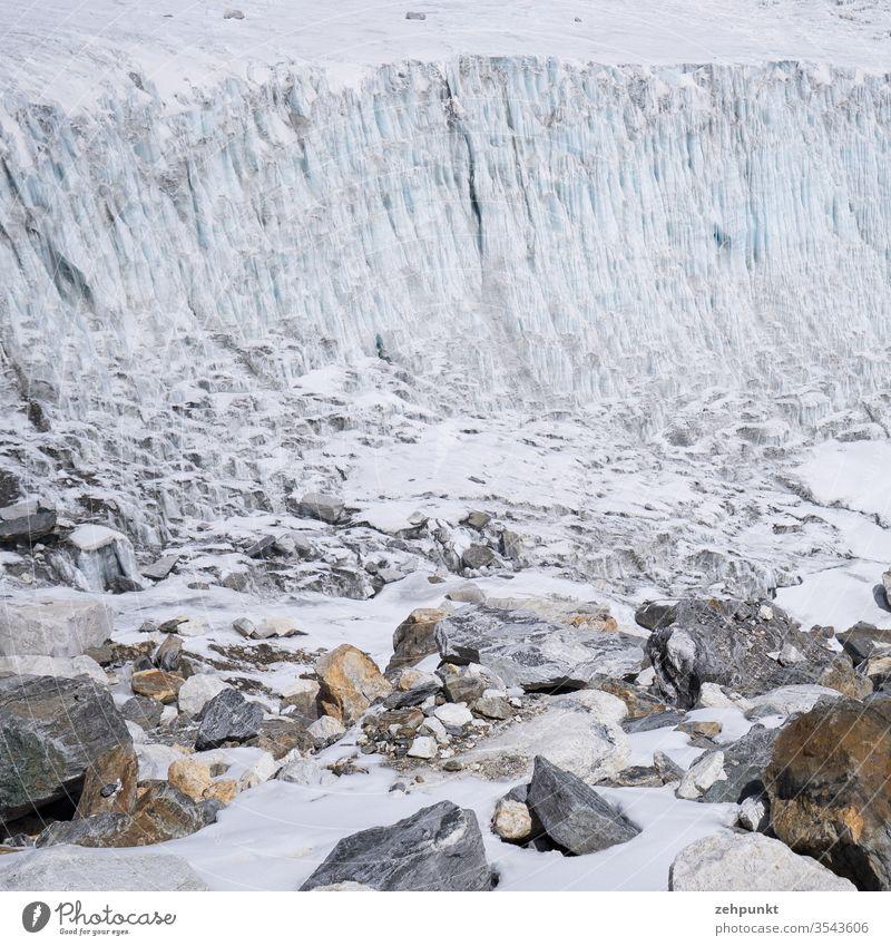 Section of a glacier edge and coloured rocks lying below Glacier ice Rock Glacier tongue Glacier breakup Nepal Himalayas Solukhumbu Landscape Mountain