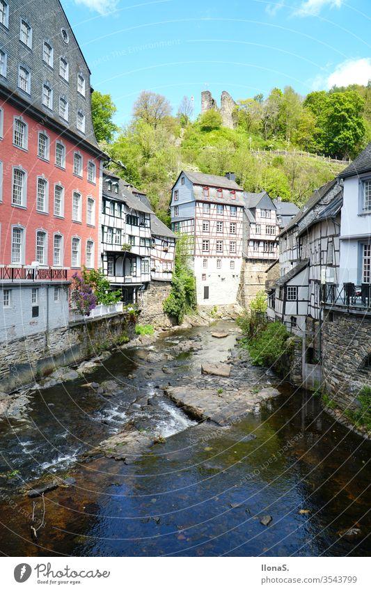 Historische Altstadt Monschau in der Eifel historic old town Old town houses Clothmaker town Pearl of the Eifel Rur Nature Exterior shot Colour photo