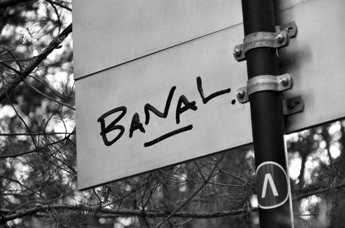 Take it literally... On the white back of a sign on the way through a pine forest, someone has written the word BANAL with a thick black felt-tip pen - in capital letters, underlined and with a dot.