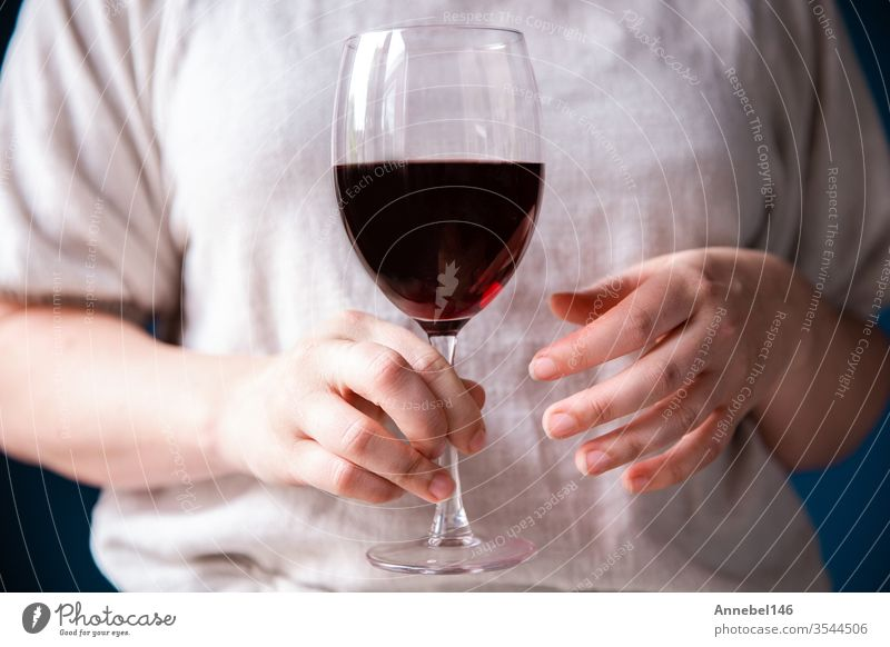 Portrait of a young woman with a glass of red wine in her hand against blue wall, background family business fashion party love food person girl rose couple
