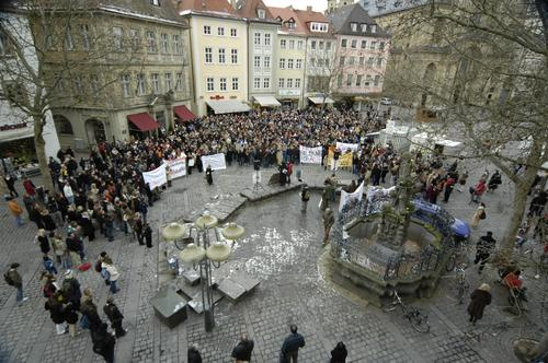 Student Demo University & College student Demonstration Bamberg Bavaria Protest Politics and state Science & Research tuition fees forked man Human rights