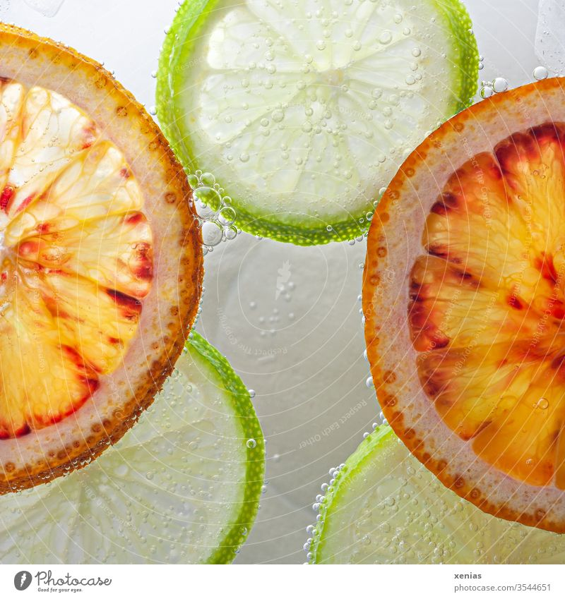 Oranges and limes float sliced on the surface of the water slices Water Surface of water green blow fruit Diet Nutrition Healthy Fresh Round Healthy Eating