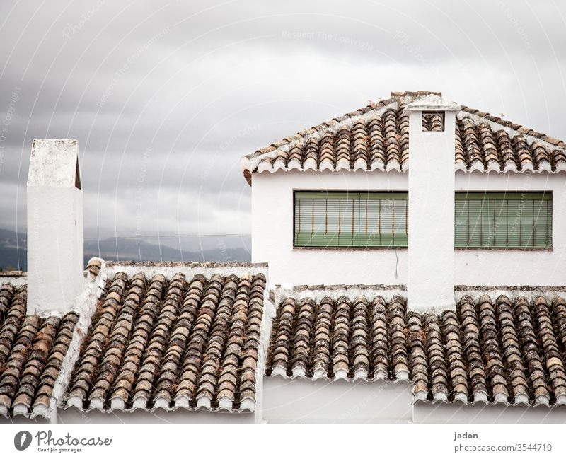 architecture, mediterranean. Roof Roofing tile Architecture Red House (Residential Structure) Exterior shot Colour photo built Deserted Day Manmade structures