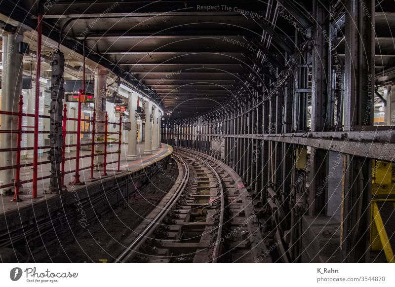 Subway tunnel in New York. Track Tunnel Station Underground Train Railroad Transport travel underground Town rail track Manhattan Americas capital city