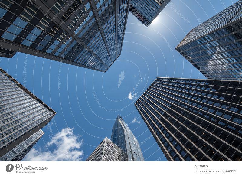 Looking up in New York. finance Quarter Town built new york Business office downtown Manhattan Architecture skyscraper Tower Sky Glass external Street Skyline
