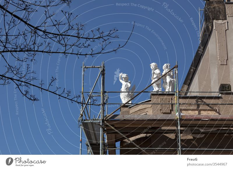 waving angel | art on building Building House (Residential Structure) Facade Scaffolding Redevelop Construction site Figures three Angel Grand piano Wave Devil