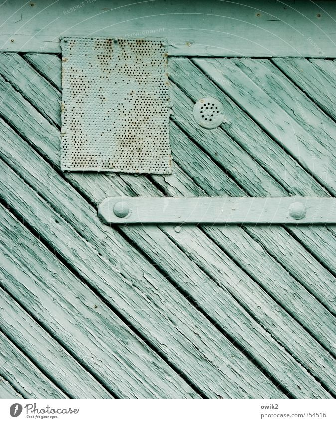 Old Dye Wood Metal Door Simple Tilt Turquoise Gate Sharp-edged Abrasion Rivet Hinge Ventilation Garage door Metal grid