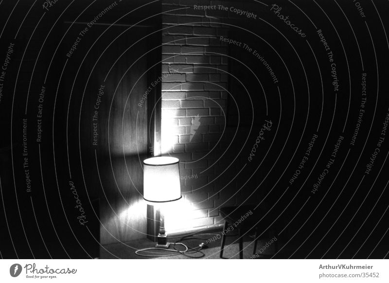 lighted room Light Lampshade Wall (building) Room Mysterious Eerie Night Wall (barrier) Living or residing Black & white photo Shadow