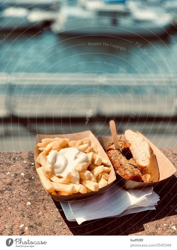 Currywurst Pommes Mayo in the harbour Hotdog French fries sausage majo Mayonnaise Fast food Fat Eating Lunch Unhealthy Nutrition Appetite Ketchup Potatoes