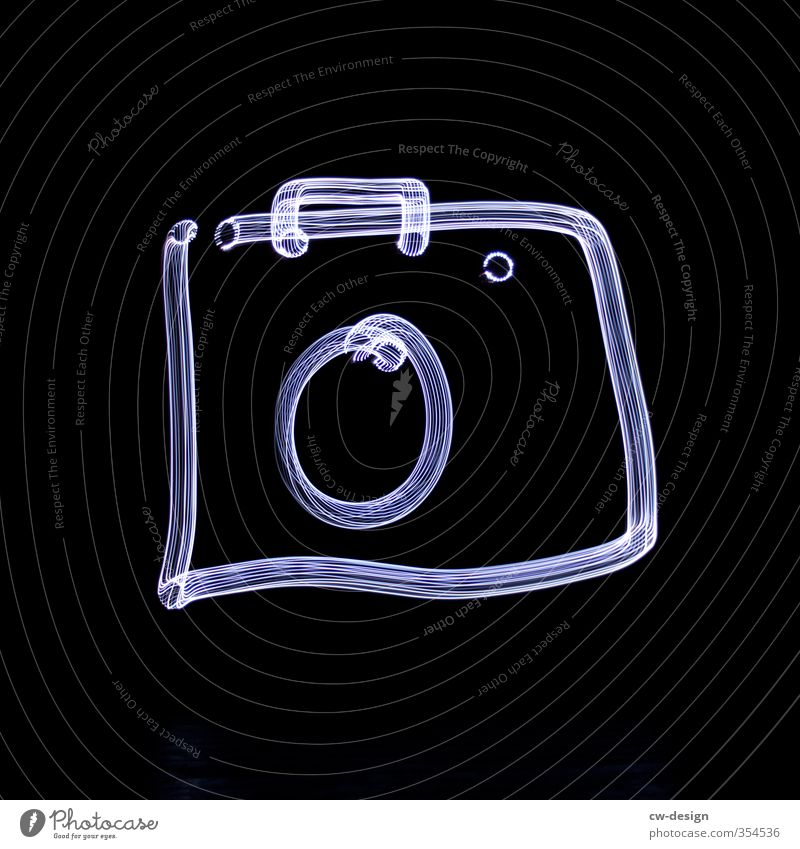 Painting with electromagnetic radiation - Colour photo Camera Sign Draw Dark Black White Light painting Black & white photo Exterior shot Deserted Night