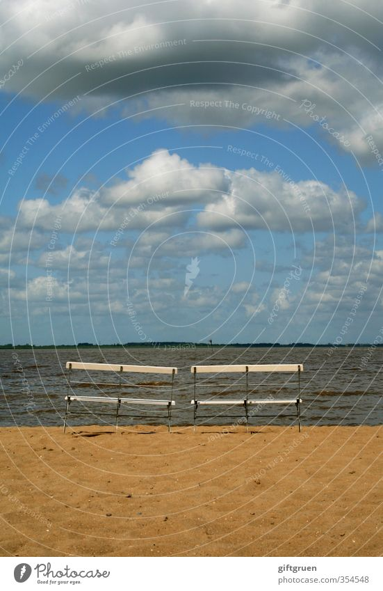 two-seater Environment Nature Landscape Elements Sand Water Sky Clouds Storm clouds Beautiful weather Waves Coast Beach North Sea Ocean Sit Break Seating Bench