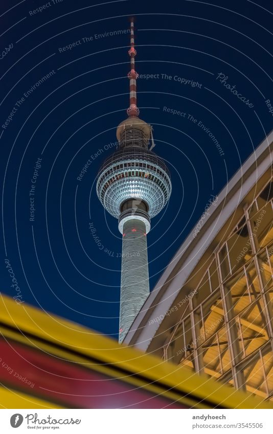 Architectur vs publich transportation in the city of Berlin at night alexander Alexanderplatz architecture attraction Background berliner building buildings