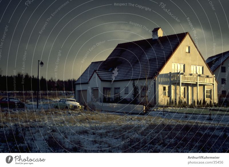 House at the beginning of winter Detached house Winter sun Clouds Moody Individual Architecture Mercedes Benz Snow