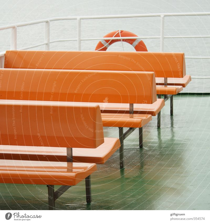 free choice of seats Transport Navigation Ferry On board Maritime Bench Seating Crossing Water wings Life belt Safety Railing Handrail Orange Empty Deserted