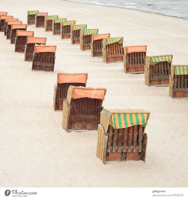 two series Environment Nature Landscape Elements Sand Water Waves Coast Beach North Sea Arrangement Beach chair Seating Sandy beach End of the season Row Gap