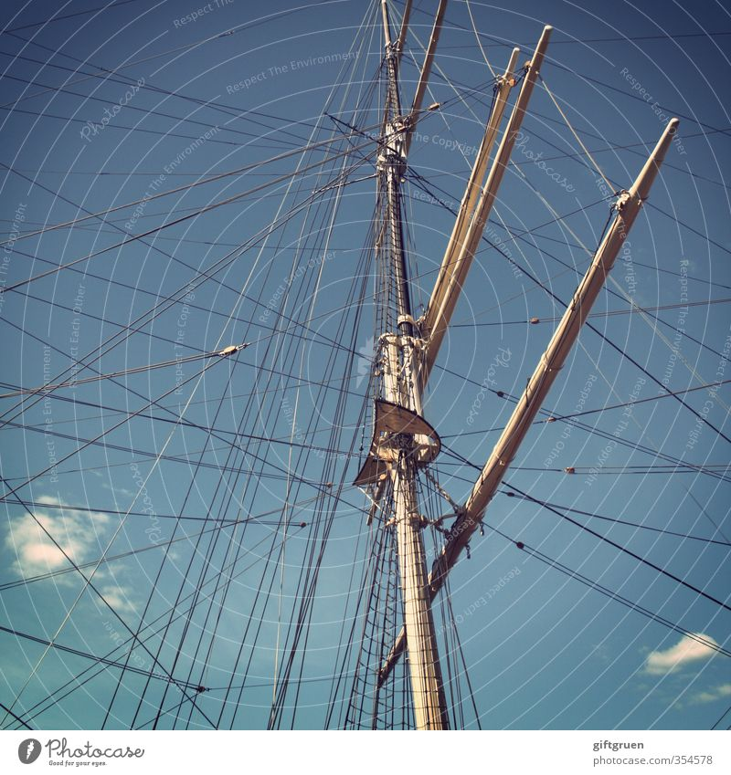 Cross and cross Navigation Yacht Harbour Old Sailboat Watercraft Mast Rigging Rope Sky Blue Sky blue Clouds Shrouds Boating trip Trip Excursion boat