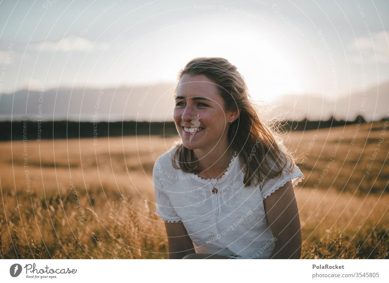 #As# sitting in the sun Sit sedentary Field Meadow Landscape Model To enjoy Freedom Colour photo Beautiful weather Woman Exterior shot Nature Margin of a field