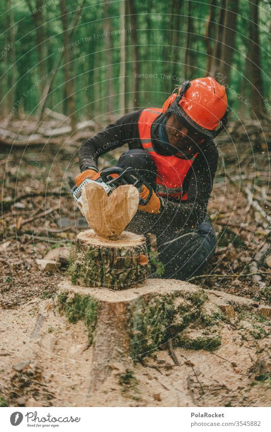 #S# Woodsman with a heart II Lumberjack wood Firewood Chainsaw Protective equipment Helmet Meter beeches Wood work Nature tree Woodcutter Forestry Tree trunk