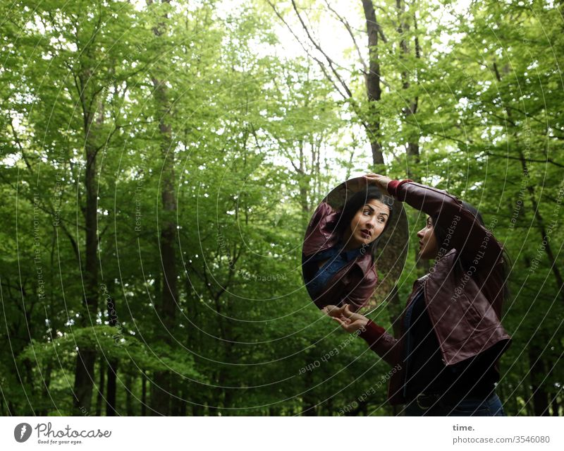 Estila Woman Feminine Forest look Observe conceit green Wild Long-haired Dark-haired Leather jacket Mirror stop Amazed Deciduous forest