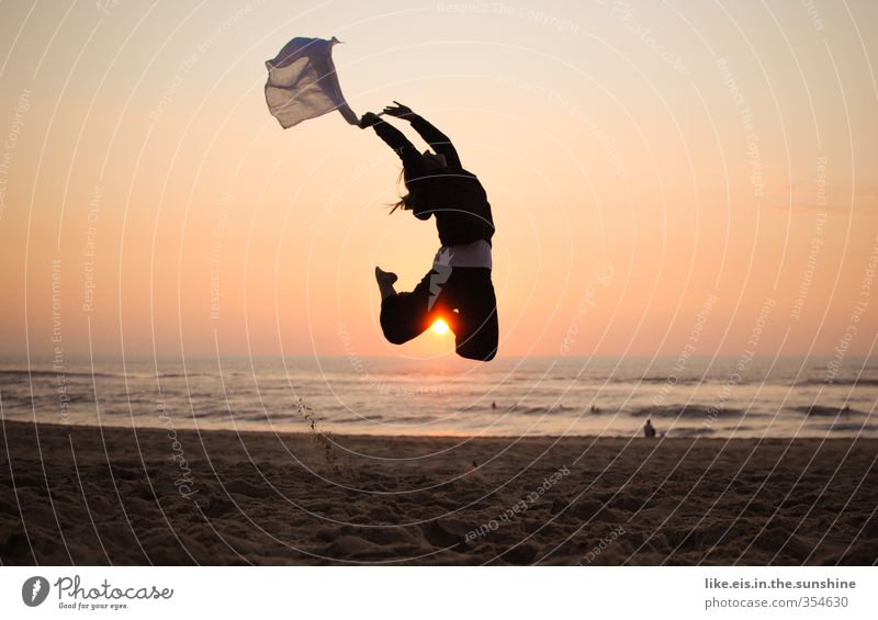 Human being Youth (Young adults) Vacation & Travel Summer Ocean Joy Beach Young woman Adults Far-off places Life 18 - 30 years Feminine Freedom Happy Jump
