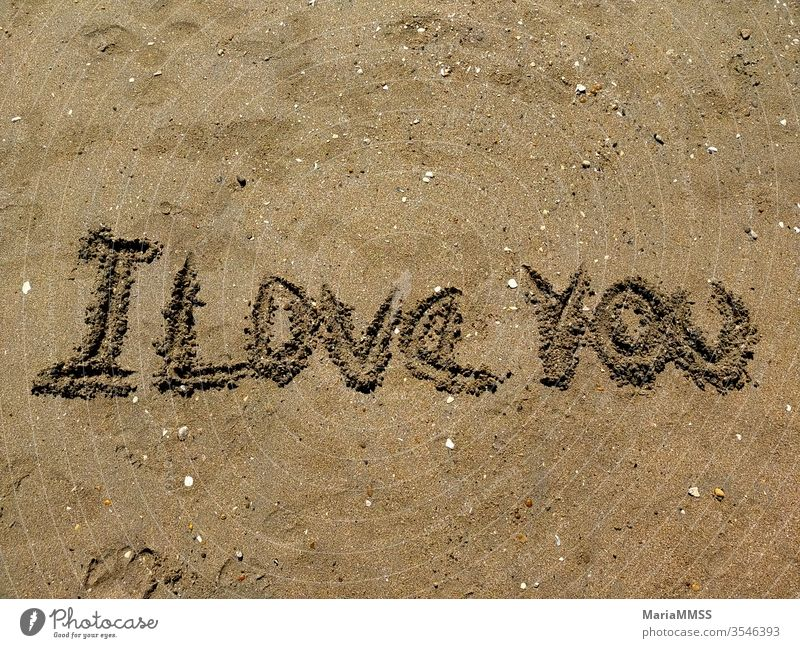 I love you written in the sand on a sunny day Sand Beach Beach dune Ocean Vacation & Travel Relaxation Coast Summer Sky Sun Nature Sunlight Copy Space top