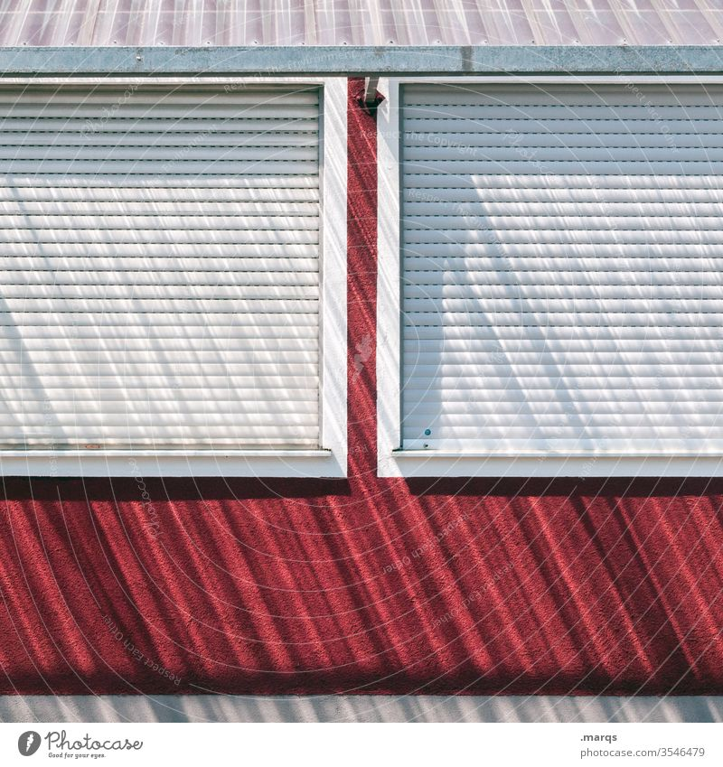 Don't lock me down lockdown Facade Roller shutter Closed Shadow Window House (Residential Structure) Venetian blinds Roller blind Red White Stripe