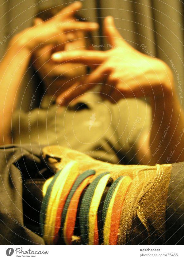 hänibäl the kännibäl Novel Green Collar Footwear Hand Fingers 3 Drape T-shirt Man Radio (broadcasting) shoelaces Macro (Extreme close-up) Multicoloured