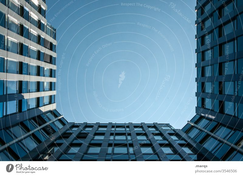 Blue house under blue sky Interior courtyard Building Architecture Facade Window Tall Perspective Cloudless sky Worm's-eye view Skyward Real estate market
