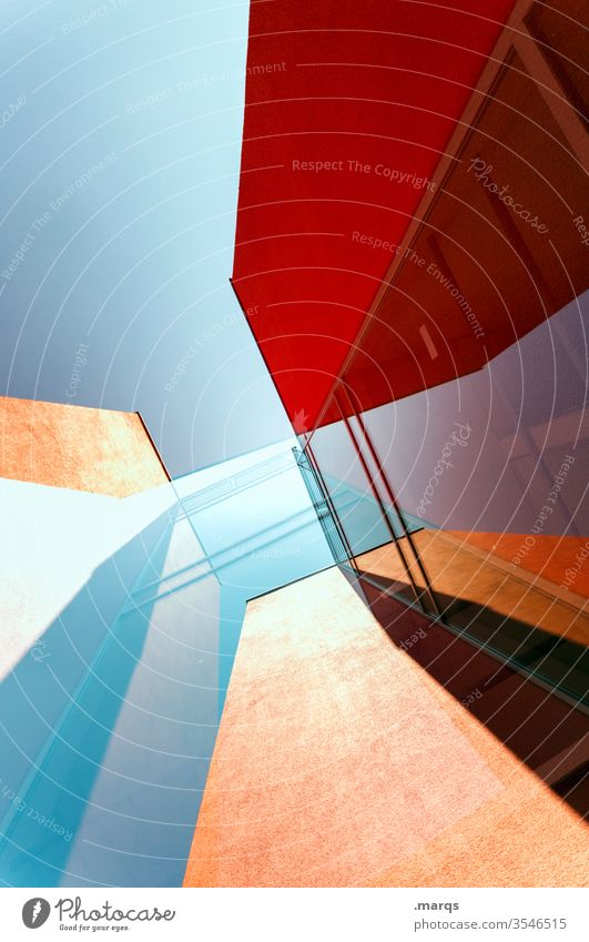 High rise abstract built Architecture High-rise Red Cloudless sky Facade Glass Reflection Abstract Double exposure Modern Perspective Design Style