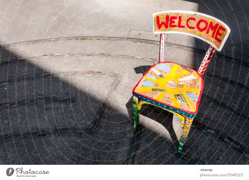 welcome center Chair welcome home Welcome variegated Characters Light Shadow Arrival Guest Hospitality Friendliness open-mindedness