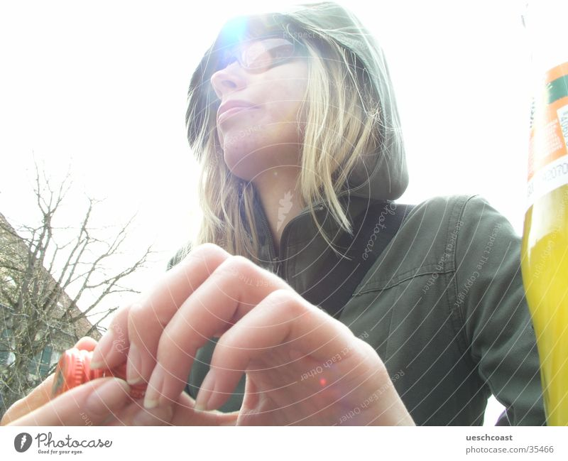 ...me miri Blonde Hooded (clothing) Sunglasses Hand Overexposure Dreamily Green White Woman Great myri