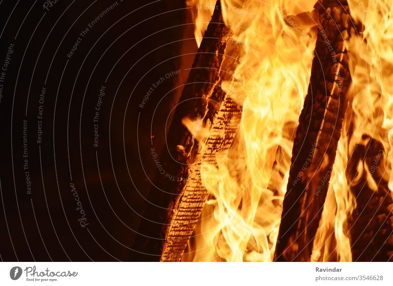 Closeup of Fire at time of festival campfire burn danger inferno bonfire flame heat hot warm hell wildfire flammable element blazing ignite fiery fireplace red
