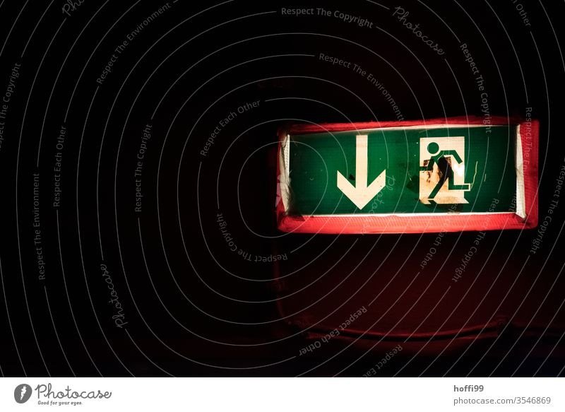 Emergency exit this way Escape route Way out Exit route escape route escape sign Signs and labeling Signage Pictogram Warning sign Running Walking Safety
