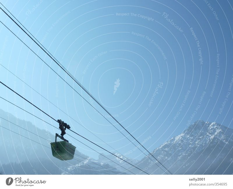 Sky Nature Blue Landscape Winter Mountain Movement Freedom Above Transport Hiking Beautiful weather Trip Rope Alps Construction site