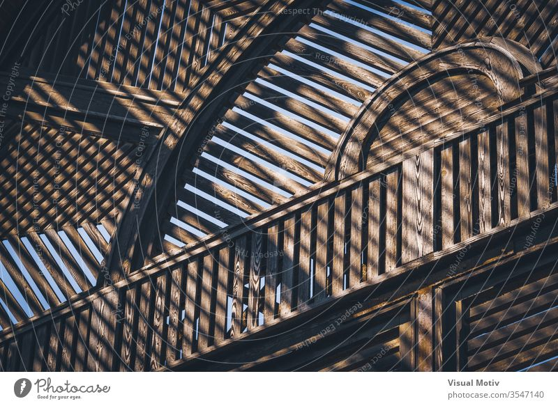 Abstract detail of the old wooden structure of a Lath House color architecture built structure no people nobody building natural light closed wood material door