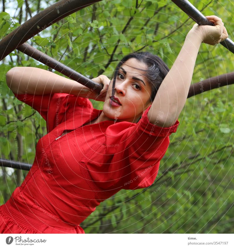 Estila Dress braid Long-haired Dark-haired Self-confident Nature out Red feminine Woman Charming Climbing Sports stop Skeptical look Looking Metal Force