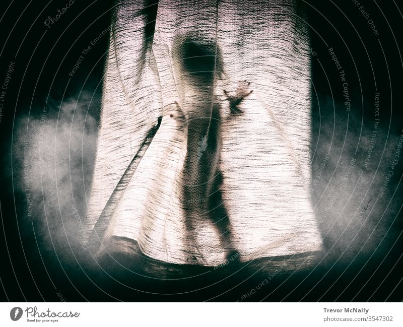 Small girl hiding behind a dark curtain. pattern black safety sanctuary darkness window asian phantom evil good ghost haunted searching scared lost alone cute