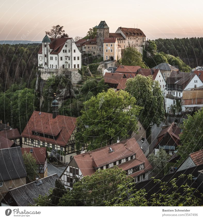 Hohnstein with castle in the Elbe Sandstone Mountains Small Town Castle Village Elbsandstone mountains Relaxation Church spire Facade hollow stone