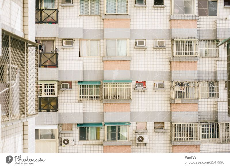 house facade apartment block Taiwan windows Asia Facade Window variegated pastel Wall (building) Wall (barrier) block of flats High-rise South East Asia