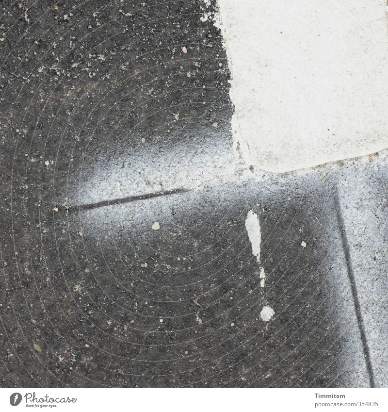 ! Denmark Sign Signs and labeling Esthetic Sharp-edged Simple Gray White Parking lot Surface Asphalt Line Exclamation mark Dye Drop Colour photo Subdued colour