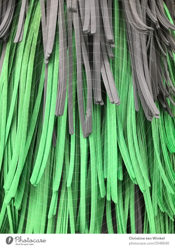 Strips of microfibre in green and grey in a car wash Cloth fabric strip Textile strips Stripe Gray Cleaning Car wash washing machine Floor cloth cleaning Soft