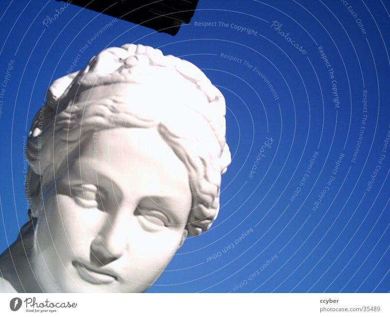 figure Rich White Feminine Woman Statue Noble Luxury Sky Blue Lady