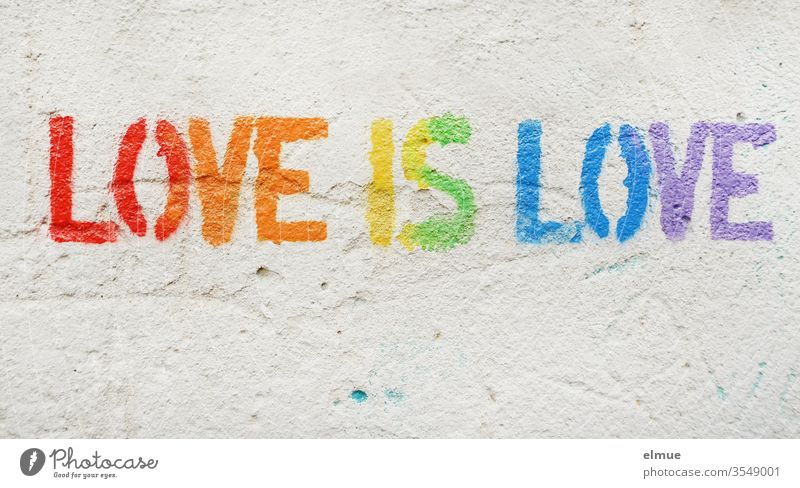 """Love is love"" in print and in rainbow colours on grey plaster wall love is love LGBT Prismatic colors Tolerant same sex homosexual Equality heterosexual"