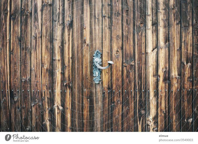 cast iron door panel (door handle) in vintage style on dark brown wooden door Door panel Wooden gate cast-iron Safety Dark brown Metal Private sphere Wood grain