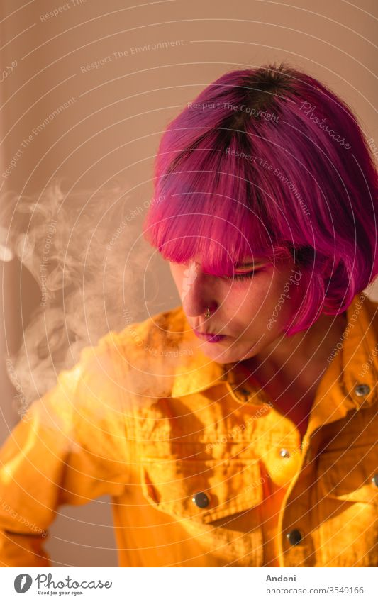 Girl with pink hair smoking Grinning Laughter Face Skin Pink Woman Eyebrow Moody Portrait photograph Smoking Blaze Smoke Cigarette Black