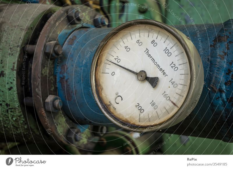 Thermometer on an industrial pipeline. Water cooler pump Pump housing technique Machinery machine Workshop Mining Mine Pipeline Pipelines Coal pan Vehicle