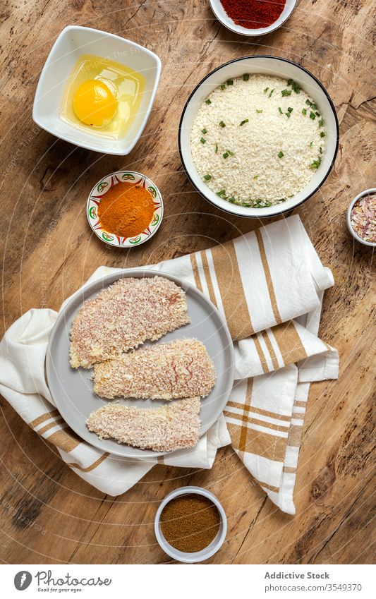 chicken fingers breaded in panko with spicy food crispy snack cuisine meal golden appetizer dinner fried crunchy gourmet coated restaurant delicious cooked hot