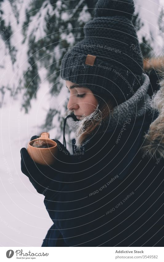 Woman drinking hot tea in snowy forest woman winter warm cup cold beverage young female travel tourism finland rovaniemi countryside woods nature season frost