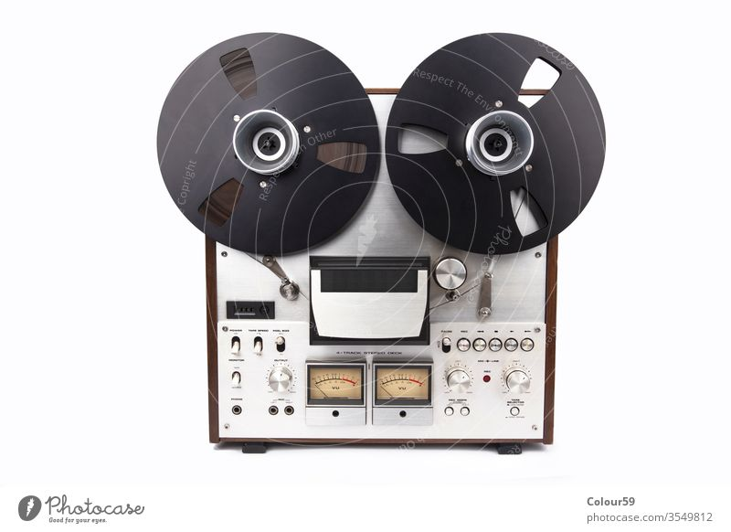 Audio Tape Recorder on bright background tape master recorder reel akai audio music 70s backup retro studer studio 60s 80s analogue audiophile classic copy data